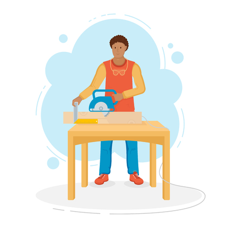 Flat illustration of builder. Man sawing a board. Vector illustration for web pages.