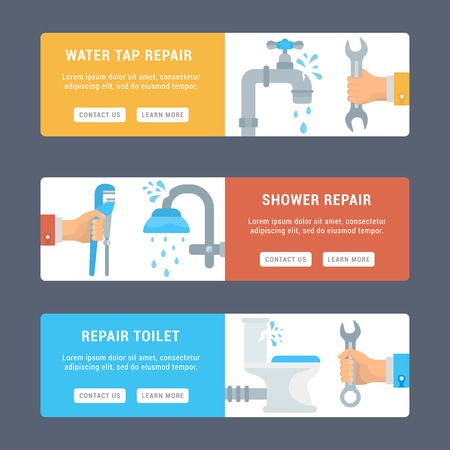 Vector cards for websites and mobile application. Illustrations of repair of sanitary engineering.
