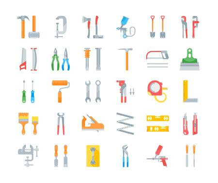 Set vector illustration of building tools. Flat elements on white background. Ilustración de vector