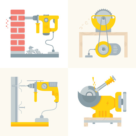 Set of electric power tools banners. Vector illustrations for web pages.