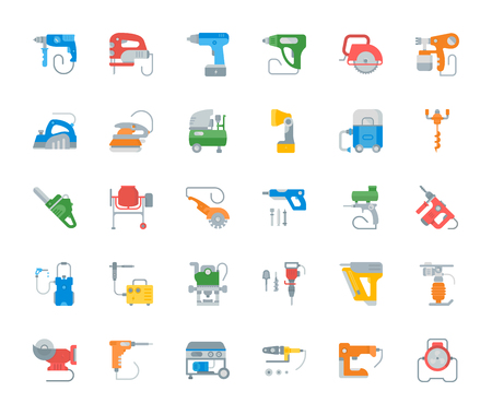 Set vector illustration of electric tools. Flat elements on white background.