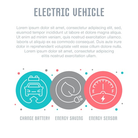 Line illustration of electric vehicle. Concept for web banners and printed materials. Template for website banner and landing page.