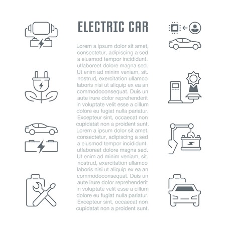 Line illustration of electric car. Concept for web banners and printed materials. Template for website banner and landing page.