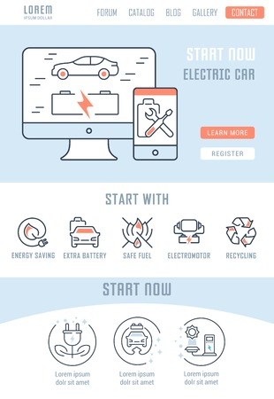 Line illustration of electric car. Concept for web banners and printed materials. Template with buttons for website banner and landing page.