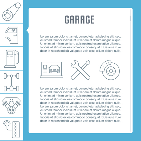 Line illustration of garage. Concept for web banners and printed materials. Template for website banner and landing page.