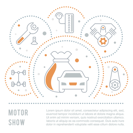 Line illustration of motor show. Concept for web banners and printed materials. Template for website banner and landing page.