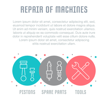 Line illustration of repair of machines. Concept for web banners and printed materials. Template for website banner and landing page.