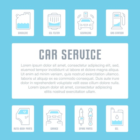 Line illustration of car service. Concept for web banners and printed materials. Template for website banner and landing page. Stock Illustratie