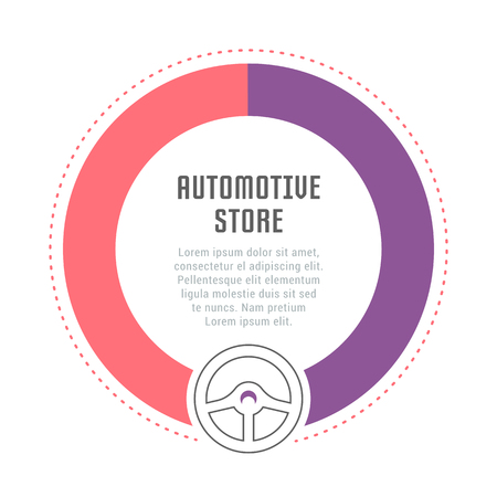Line illustration of automotive store. Concept for web banners and printed materials. Template for website banner and landing page.