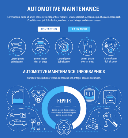 Line illustration of automotive maintenance. Concept for web banners and printed materials. Template with buttons for website banner and landing page.