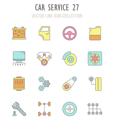 Collection vector flat icons with thin line elements. Set of modern, clean, outline signs, symbol and vector art of car service. Simple linear infographic and pictogram series for web. Illustration