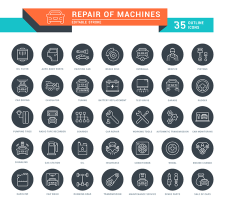 Set of outline white icons on black rounds of repair of machines with names. Collection vector thin line signs. Simple linear pictogram pack for web graphics and apps.