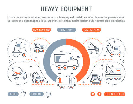 Line illustration of heavy equipment. Concept for web banners and printed materials. Template with buttons for website banner and landing page. Illustration