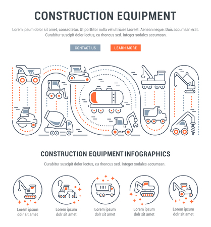 Line illustration of construction equipment. Concept for web banners and printed materials. Template with buttons for website banner and landing page.