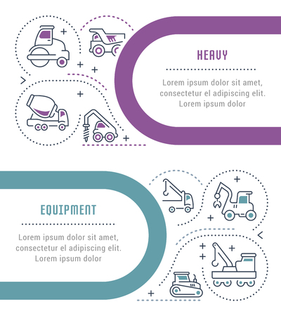 Line illustration of heavy equipment. Concept for web banners and printed materials. Template with buttons for website banner and landing page.