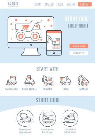 Strichabbildung der Ausrüstung. Konzept für Webbanner und Drucksachen. Vorlage mit Schaltflächen für Website-Banner und Zielseite.