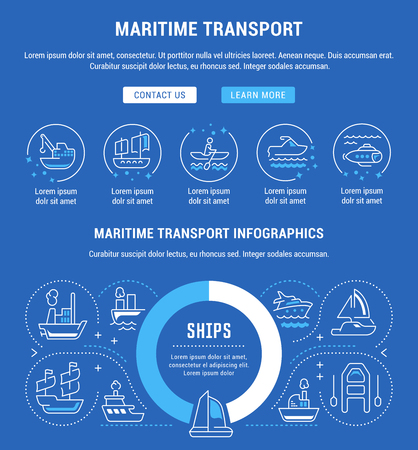 Line illustration of maritime transport. Concept for web banners and printed materials. Template with buttons for website banner and landing page.
