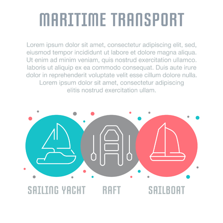 Line illustration of maritime transport. Concept for web banners and printed materials. Template for website banner and landing page. Иллюстрация