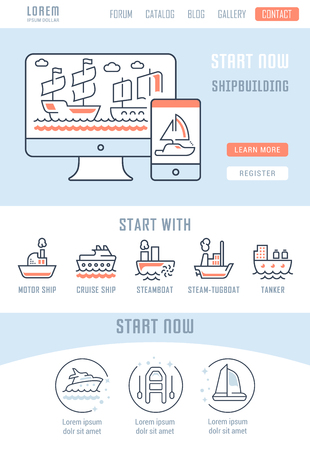 Line illustration of shipbuilding. Concept for web banners and printed materials. Template with buttons for website banner and landing page.