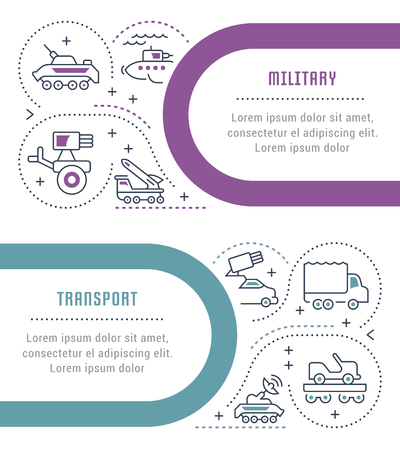 Line illustration of military transport. Concept for web banners and printed materials. Template for website banner and landing page.