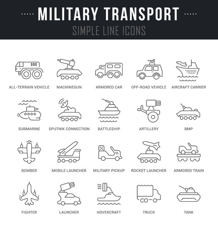 Set of outline signs and symbols of military transport with names. Collection vector thin line icons and infographics elements. Simple linear pictogram pack for web graphics and apps.