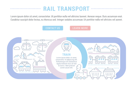 Line illustration of rail transport. Concept for web banners and printed materials. Template with buttons for website banner and landing page.