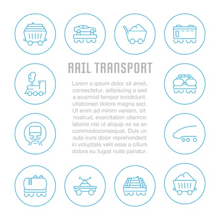 Line illustration of rail transport. Concept for web banners and printed materials. Template for website banner and landing page.