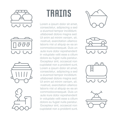 Line illustration of trains. Concept for web banners and printed materials. Template for website banner and landing page.
