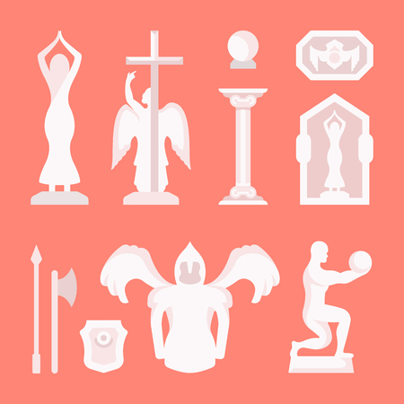 Set of statues and architectural elements. Vector illustration of St. Petersburg monuments.