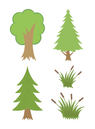 Set of trees. Vector illustration for web pages. 矢量图像
