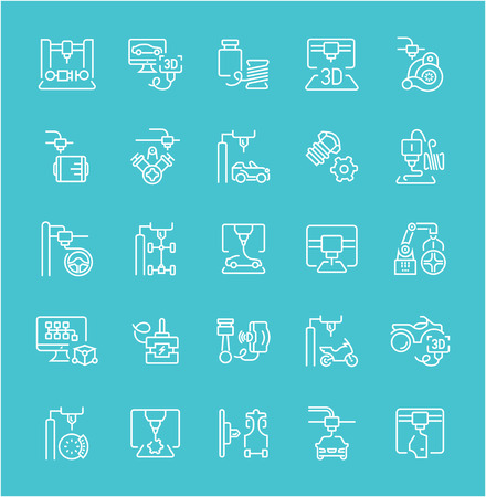 Collection of line white icons of 3d cars printing. Set of vector simple elements with bold outlines on a color background. Info graphics signs and pictograms.