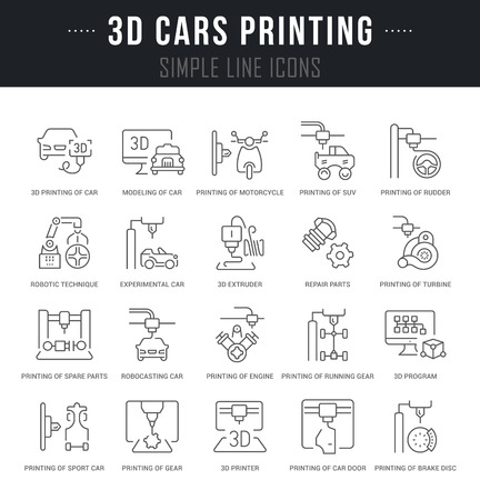 Set of outline signs and symbols of 3d cars printing with names. Collection vector thin line icons and infographics elements. Simple linear pictogram pack for web graphics and apps. Vectores