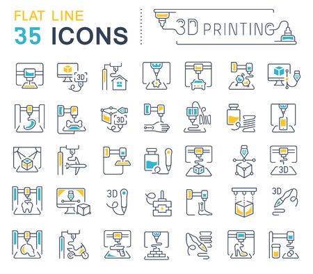 Set of vector line icons, sign and symbols with flat elements of 3d printing for modern concepts, web and apps. Collection of infographics logos and pictograms.