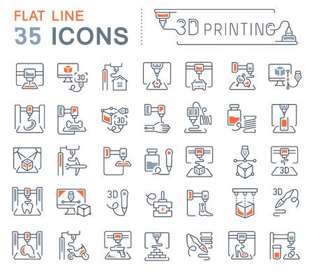 Zestaw ikon linii wektorowych, znaków i symboli z płaskimi elementami druku 3d dla nowoczesnych koncepcji, sieci i aplikacji. Kolekcja logo infografiki i piktogramów.