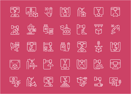 Collection of line white icons of 3d printing. Set of vector simple elements with bold outlines on a color background. Info graphics signs and pictograms. Illustration