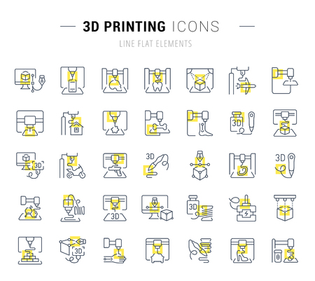 Set of vector line icons and signs with yellow squares of 3d printing for excellent concepts. Collection of infographics logos and pictograms.