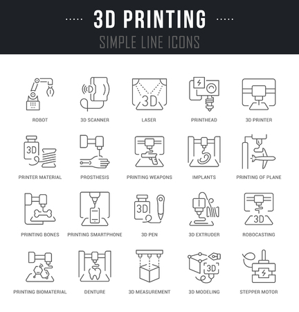 Set of outline signs and symbols of 3d printing with names. Collection vector thin line icons and infographics elements. Simple linear pictogram pack for web graphics and apps.