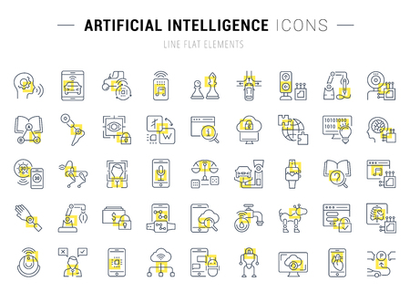 Set of vector line icons and signs with yellow squares of artificial intelligence for excellent concepts. Collection of infographics logos and pictograms.