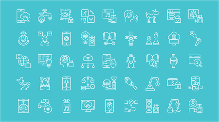 Collection of line white icons of artificial intelligence. Set of vector simple elements with bold outlines on a color background. Info graphics signs and pictograms.