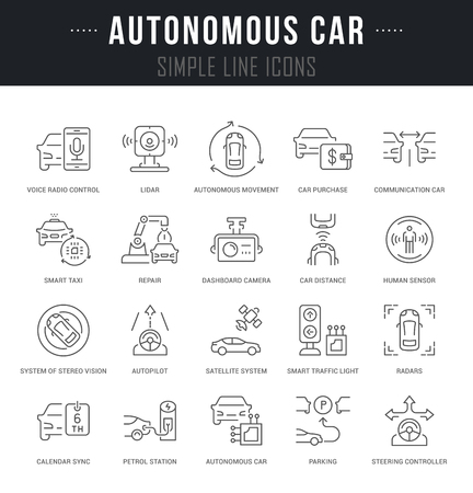 Set Of Outline Signs And Symbols Of Autonomous Car With Names