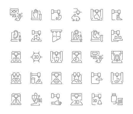 Collection of line gray icons of 3d bioprinting. Set of vector simple concepts for creative projects and apps. Info graphics elements and pictograms. Çizim