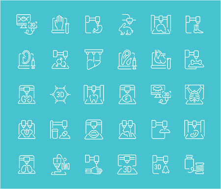 Collection of line white icons of 3d bioprinting. Set of vector simple elements with bold outlines on a color background. Info graphics signs and pictograms.