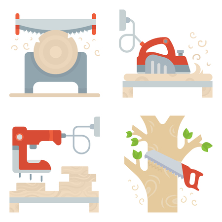 Set of building tools banners. Vector illustrations for web pages.