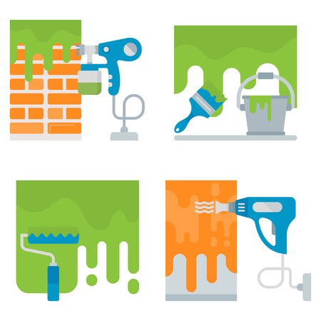 Set of repair tools banners. Vector illustrations for web pages.