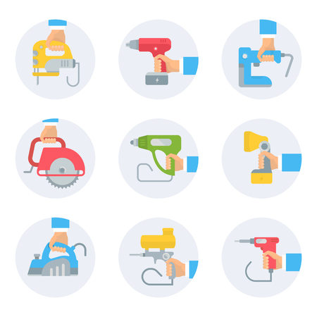Set of electric power tools icons. Vector illustrations for web pages.