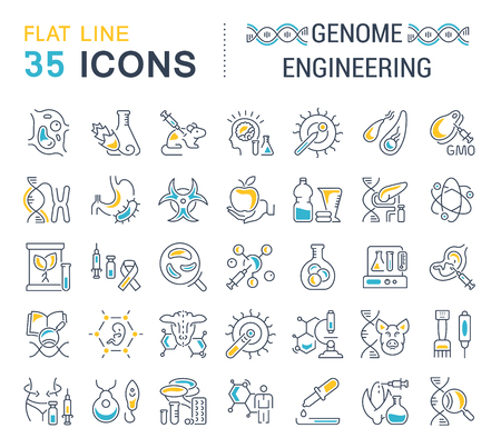 Set of vector line icons, sign and symbols with flat elements of genome engineering for modern concepts, web and apps. Collection of infographics logos and pictograms.