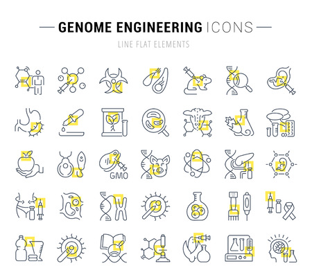 Set of vector line icons and signs with yellow squares of genome engineering for excellent concepts. Collection of infographics logos and pictograms.