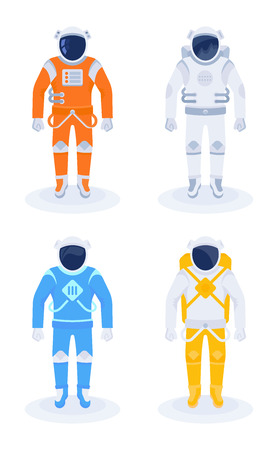 Astronaut and cosmonaut in a white, orange, blue and yellow spacesuit. Vector illustration on flat design.