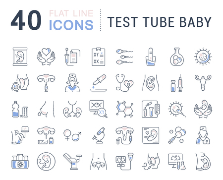 Set of vector line icons, sign and symbols with flat elements of test tube baby for modern concepts, web and apps. Collection of infographics logos and pictograms. Vettoriali