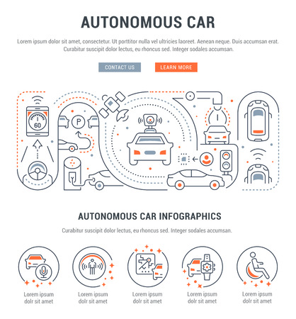 Line banner of autonomous car. Vector illustration of cars with artificial intelligence.